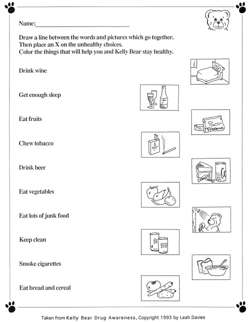 Free Printable Health Worksheets Kindergarten  944017