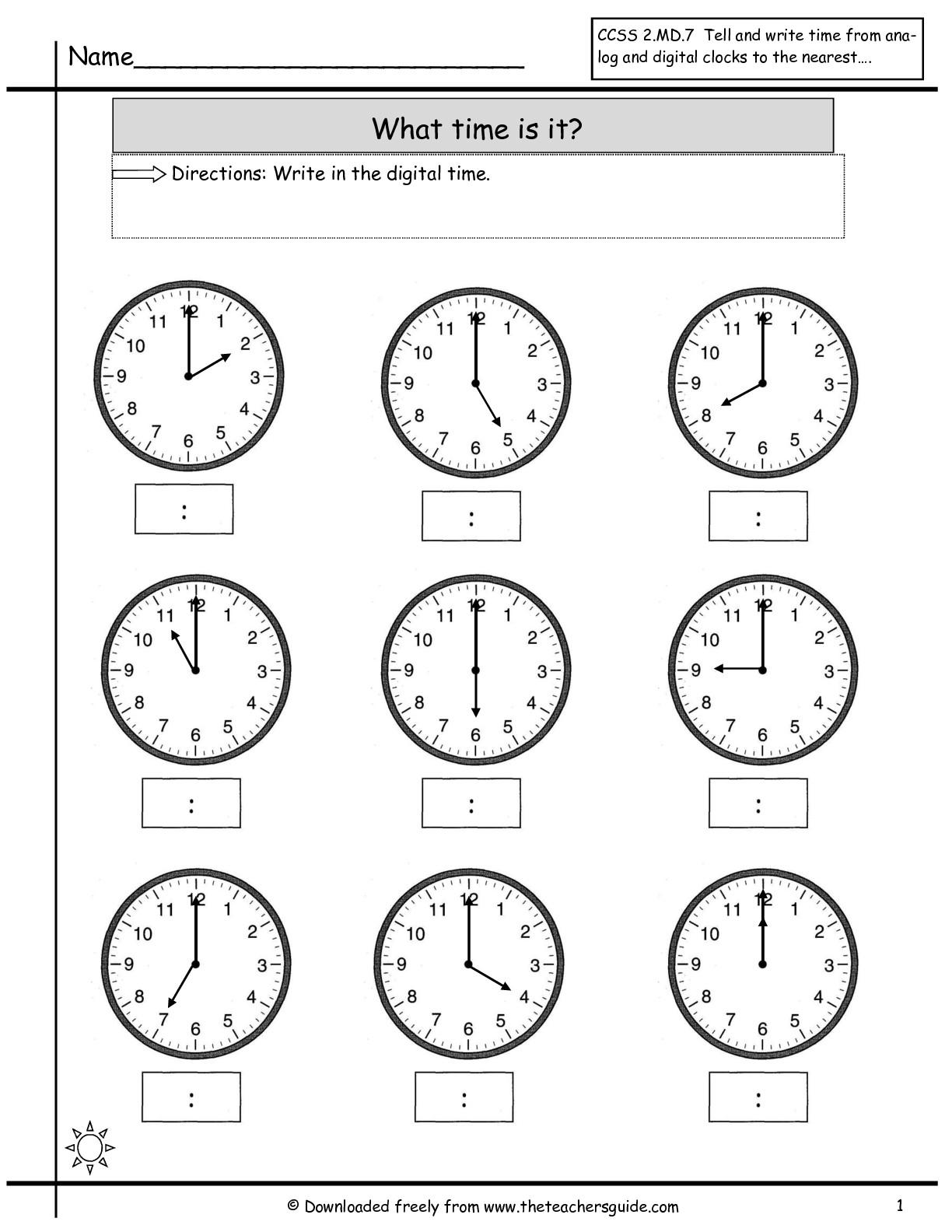 Free Printable Kindergarten Telling Time Worksheets 226841