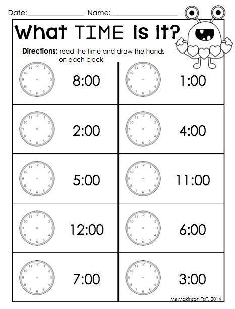 Free Printable Kindergarten Telling Time Worksheets