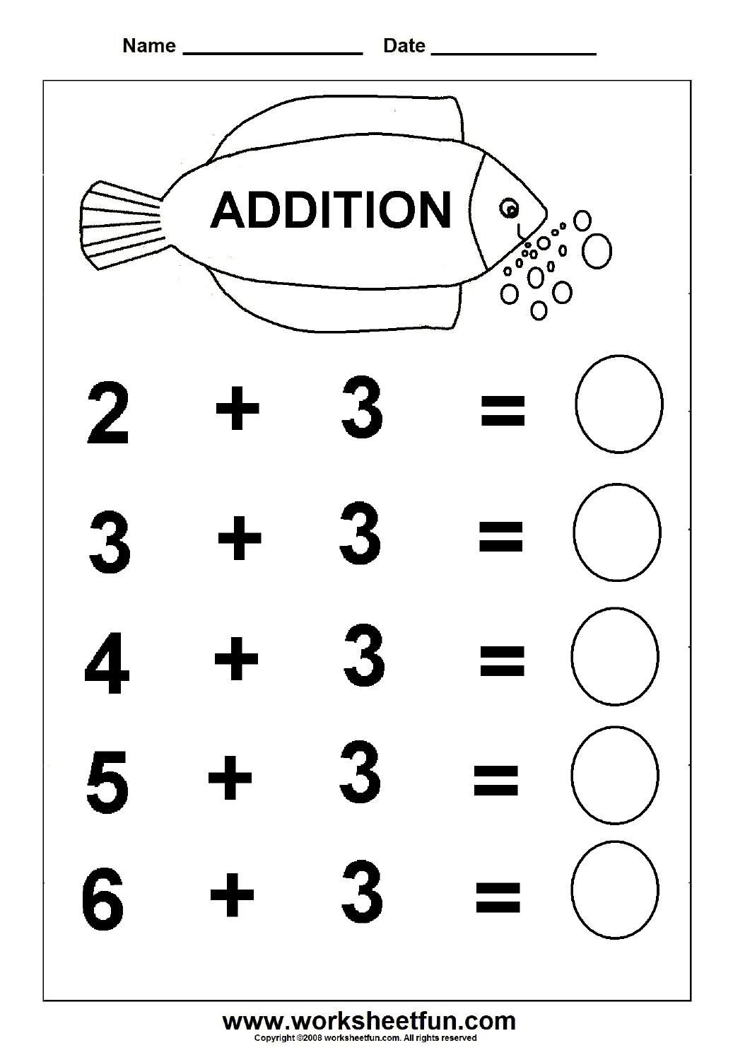 Free Printable Math Addition Worksheets For Kindergarten 1438700