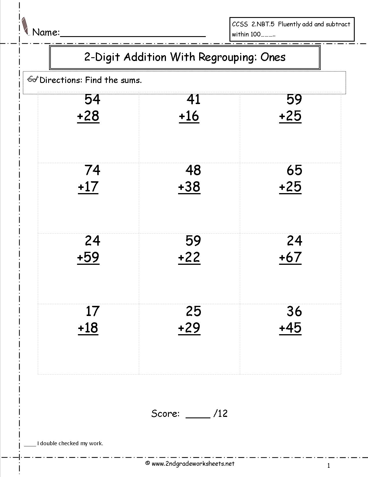 Free Printable Math Worksheets 2 Digit Addition With Regrouping
