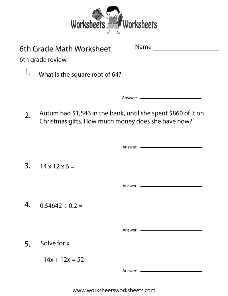 Free Printable Math Worksheets For 6th Grade Math 400190