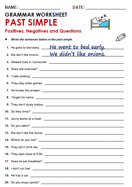 Free Printable Pdf Grammar Worksheets, Quizzes And Games, From A