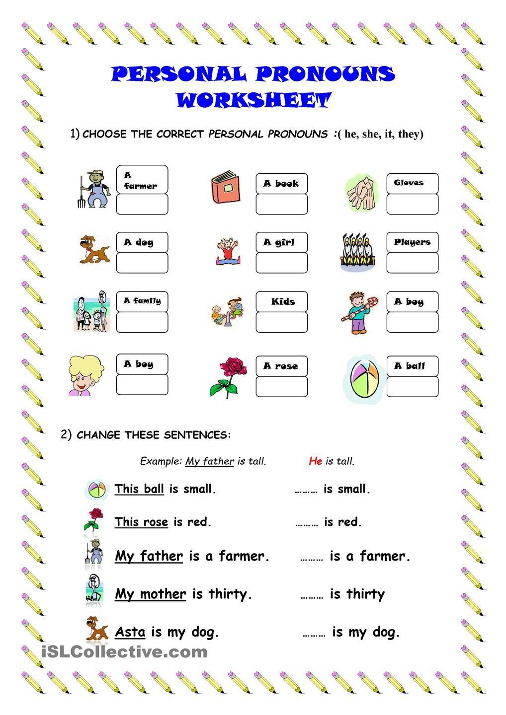 Free Printable Pronoun Worksheets For Preschool 643536