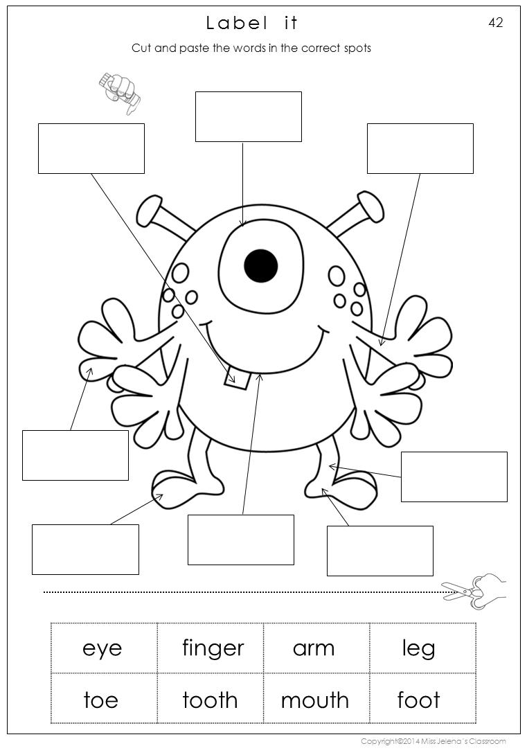 Free Printable Worksheets Kindergarten Body Parts 181532