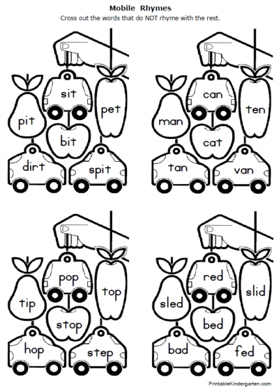 Free Rhymes Worksheets, Free Worksheets For 1st Grade
