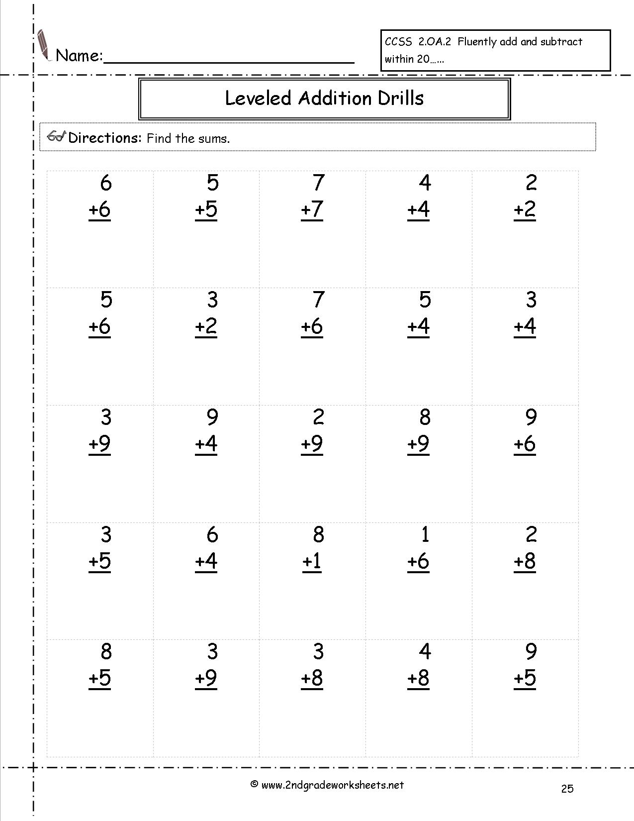 Free Second Grade Math Addition Worksheets 407959