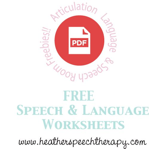 Free Speech And Language Worksheets