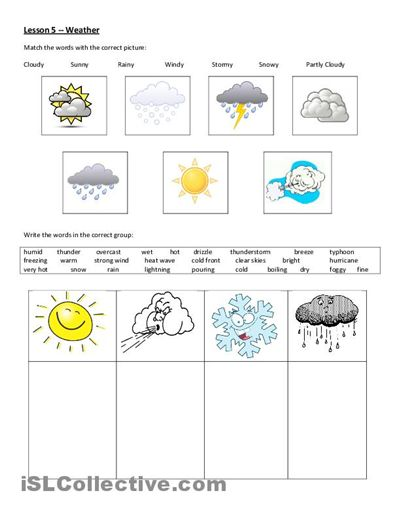 Free Worksheets For Grade 1 Weather With Weather Worksheets For