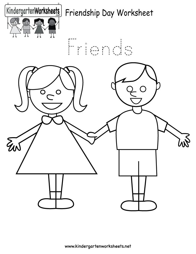 Friendship Day Worksheet Free Kindergarten Holiday, Friendship