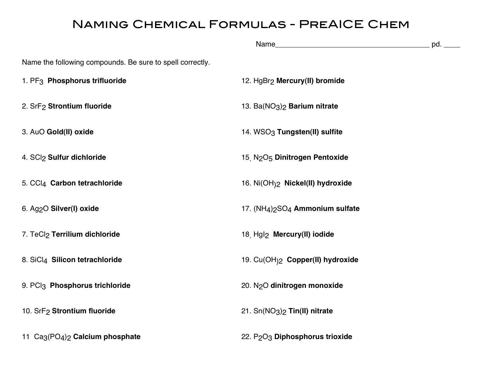 Gallery For Naming Covalent Compounds Worksheet, Binary Ionic