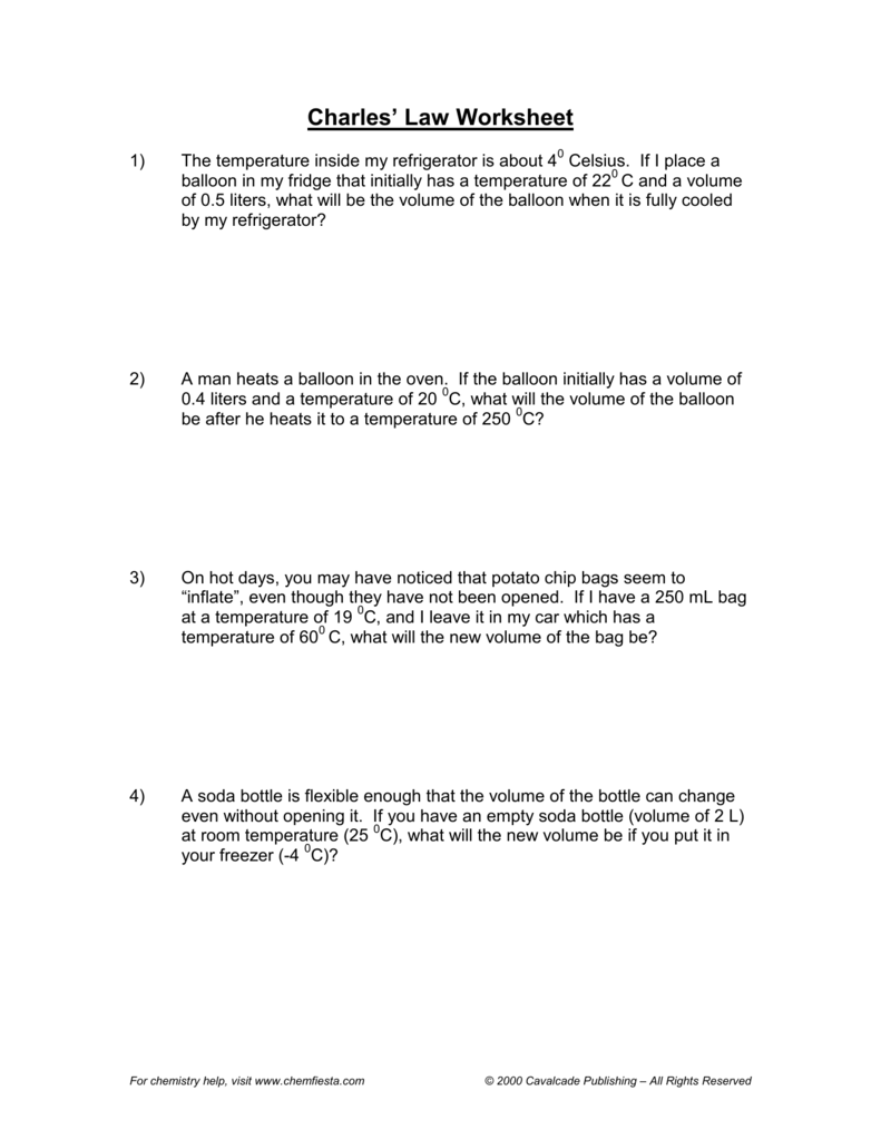 Gas Law Worksheets 1446069