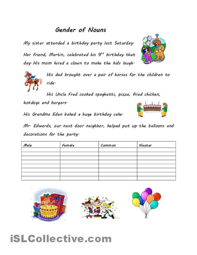 Gender Of Nouns Worksheet