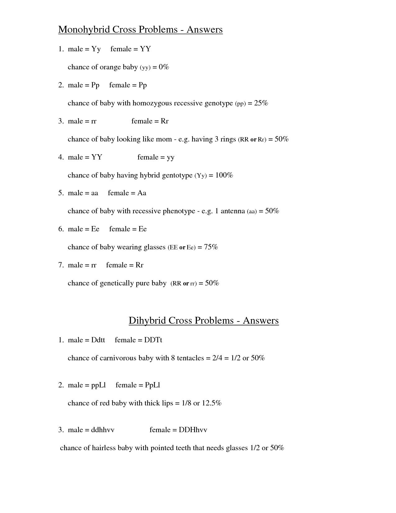 Genetics Monohybrid Cross Worksheet Answers