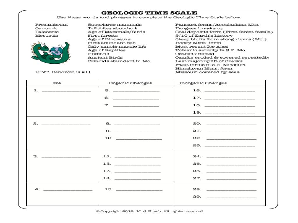 Geologic Time Worksheet 1050201