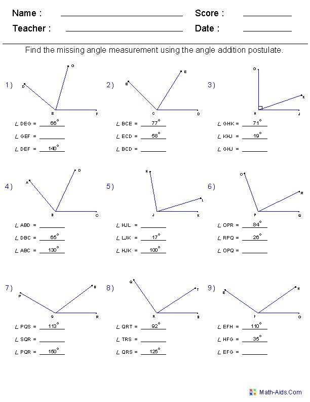 Geometry Fun Worksheet High School  215600