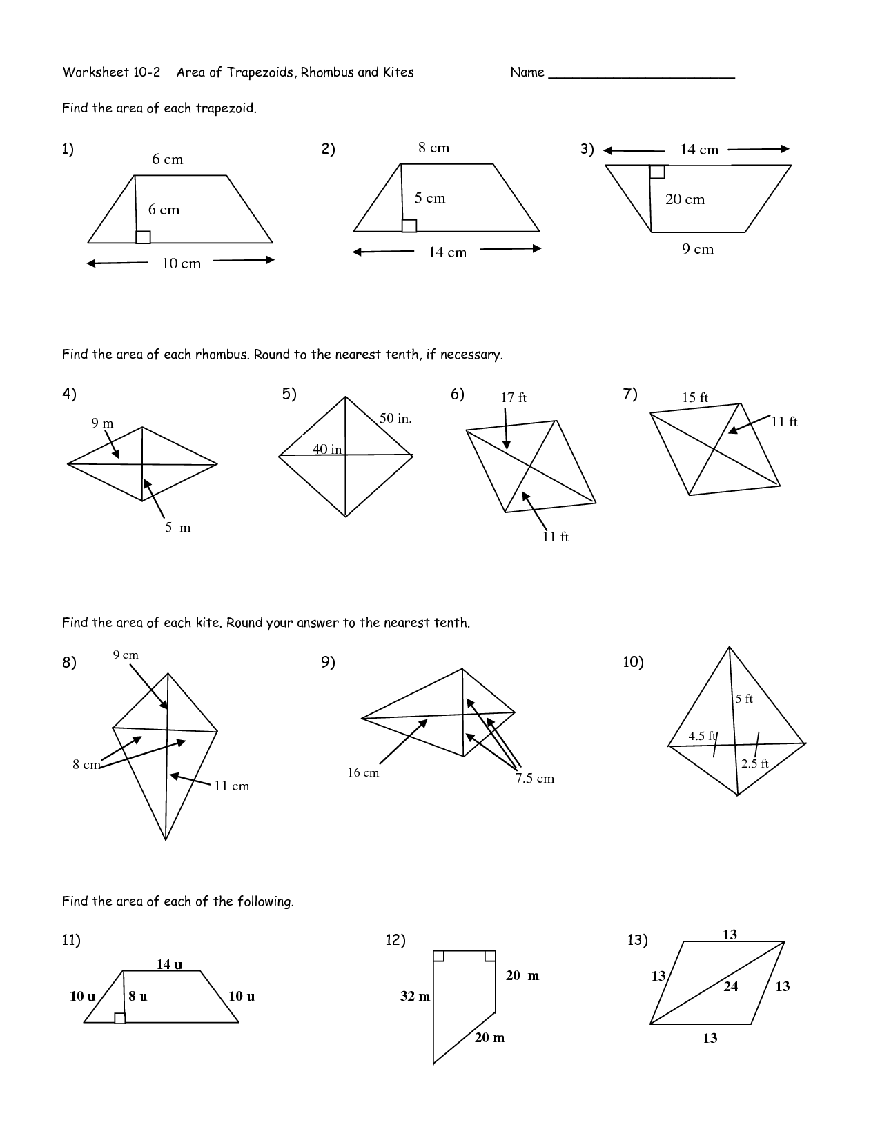 Geometry Worksheet Kites And Trapezoids Answers 5501597