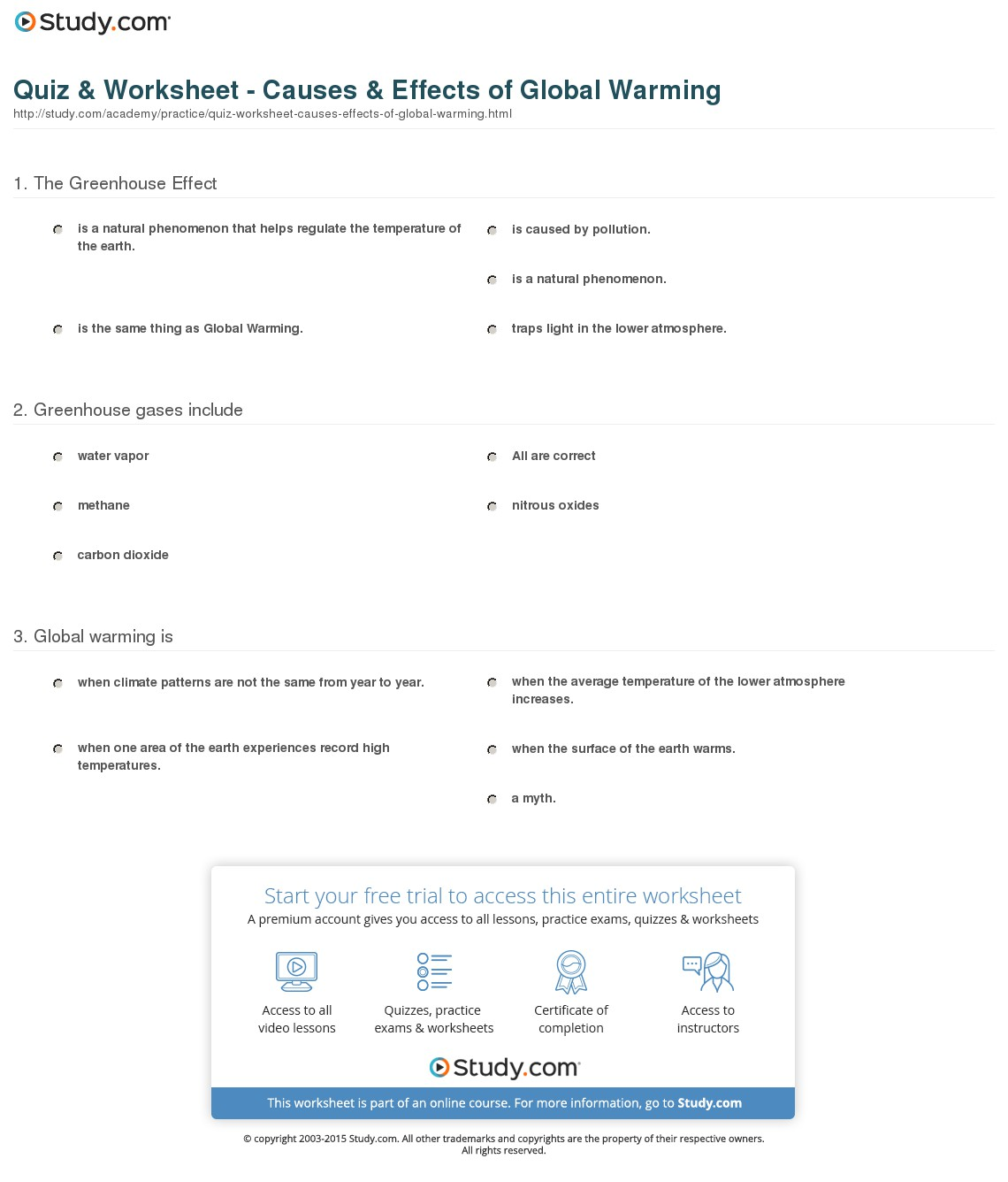 Global Warming Worksheet Image Collections
