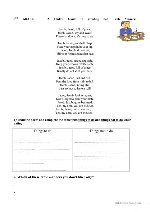 Good Table Manners Worksheet