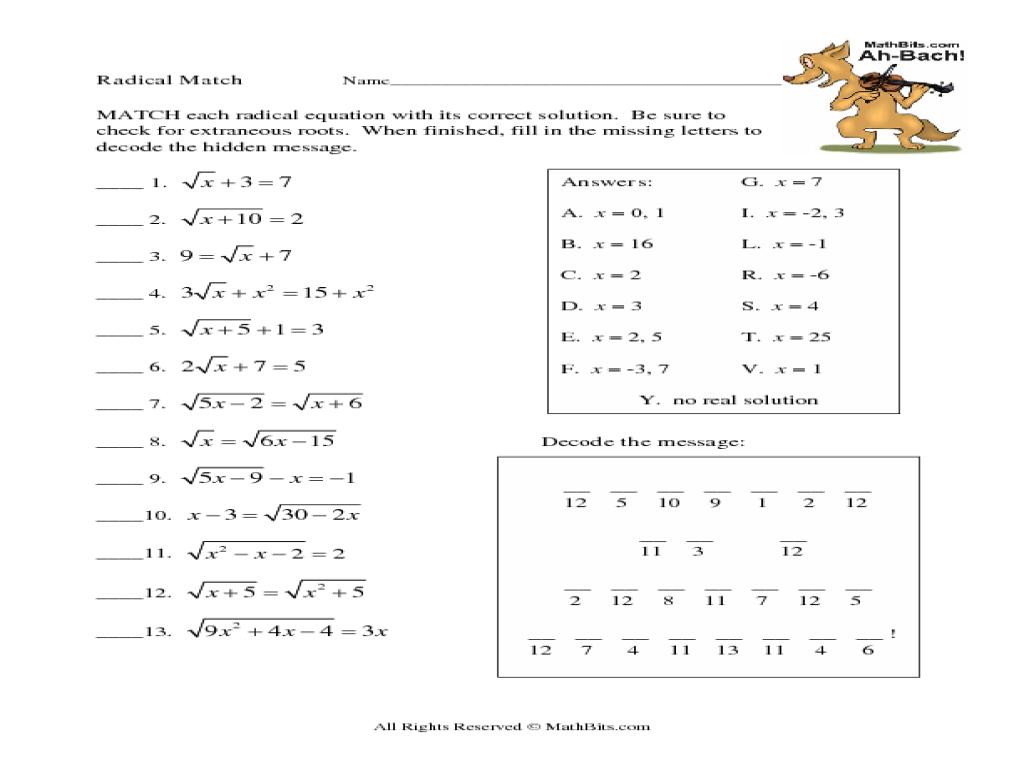 Grade 11 Math Radicals Worksheets 1407324