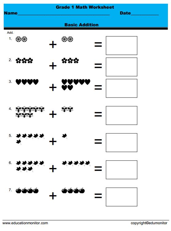 Grade 1 Math Worksheets – Edumonitor