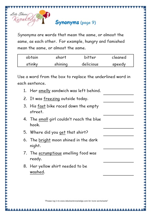 Grade 3 Grammar Topic 27  Synonyms Worksheets