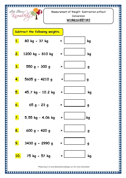 Grade 3 Maths Worksheets  (12 4 Measurement Of Weight  Subtraction