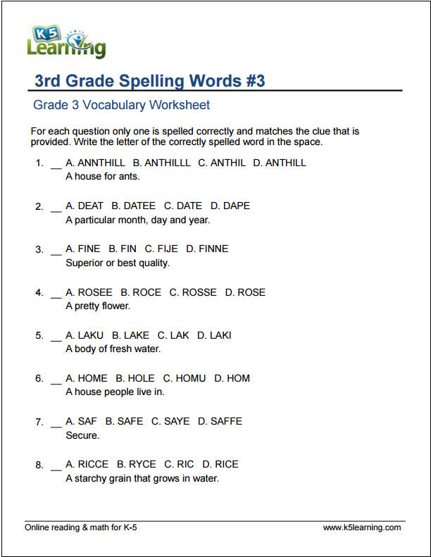 Grade 3 Vocabulary Worksheets Printable And Organized By, Grade 3