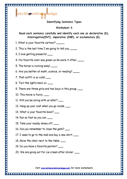 Grade 4 English Resources Printable Worksheets Topic  4 Types Of