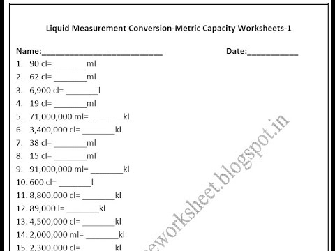 Grade 4 Math Conversion Worksheets