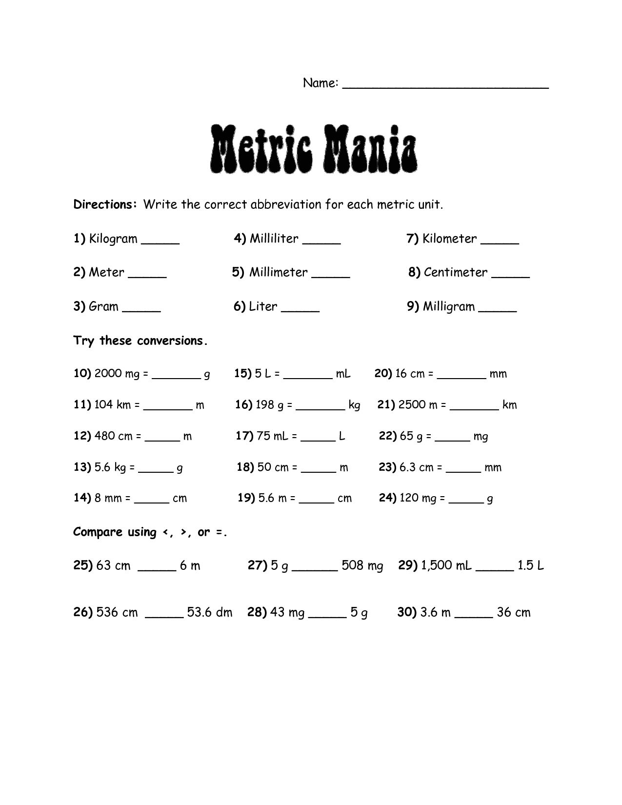 Grade 6 Math Metric Conversion Worksheets 934991