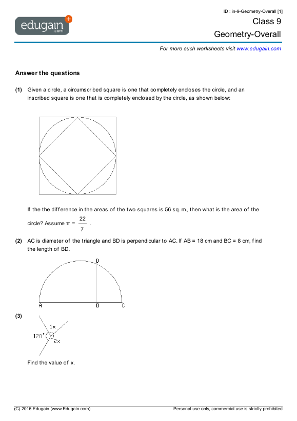 Grade 9 Math Worksheets And Problems  Geometry