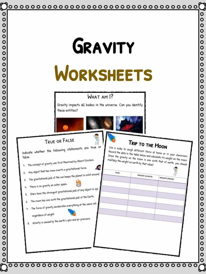 Gravity Worksheet Middle School
