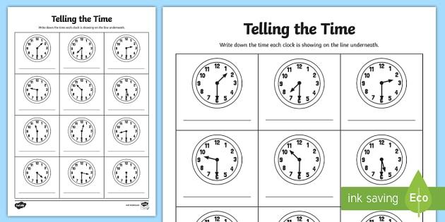 Half Past Times Analogue Clock Worksheet   Activity Sheet