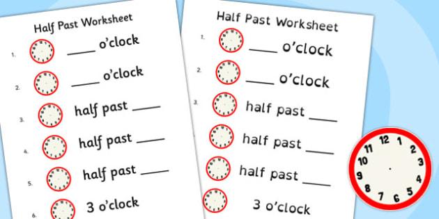 Half Past Worksheet