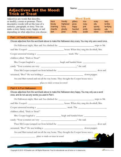 Halloween Adjectives Worksheet