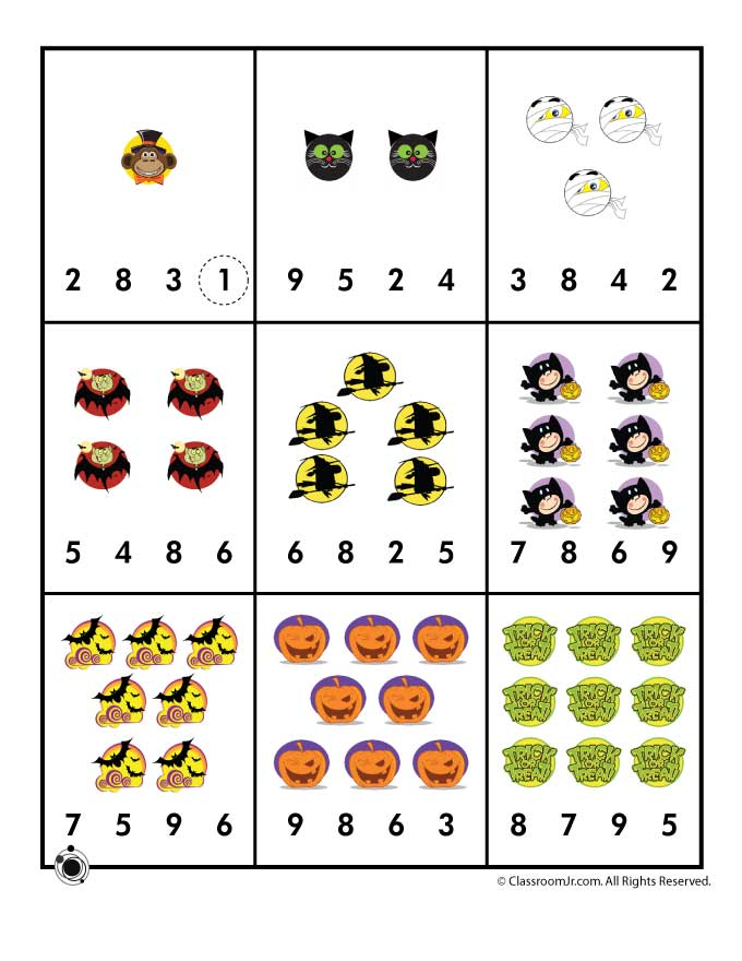 Halloween Number Worksheets Preschool 1338991