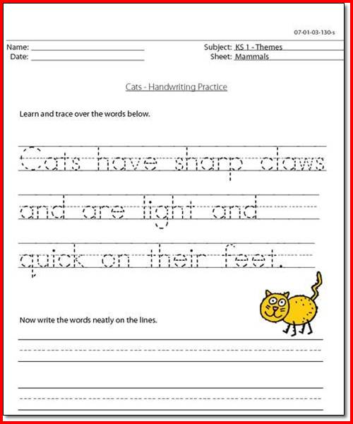 Handwriting Practice Worksheets 1st Grade
