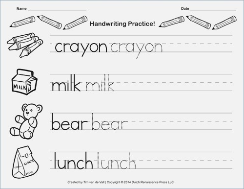 Handwriting Worksheet For Kindergarten