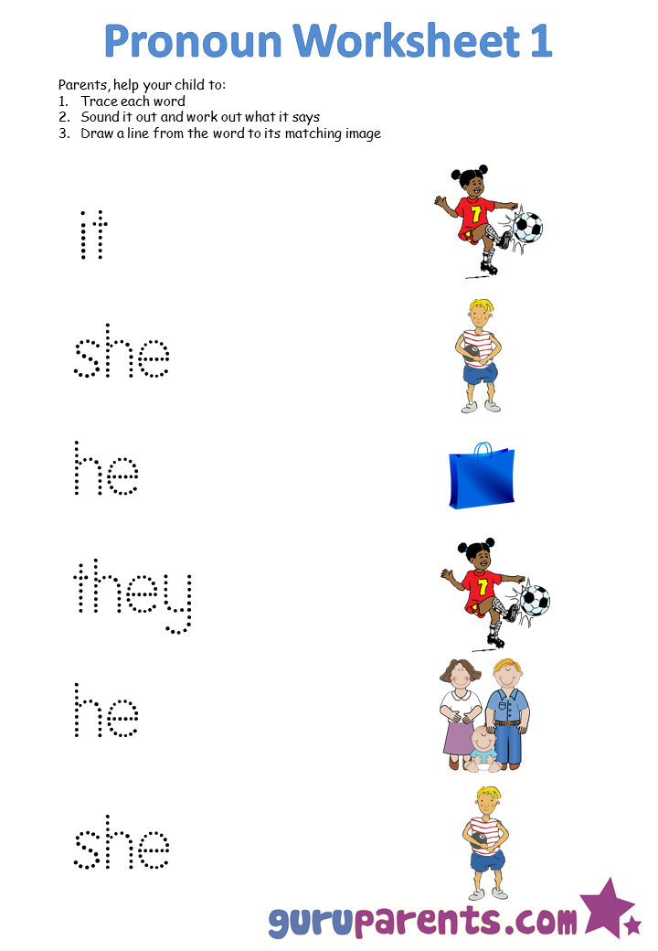 He She It They Worksheets For Kindergarten 1248490
