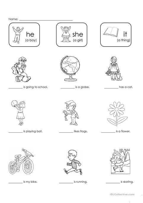 He She Worksheets For Preschool 914668