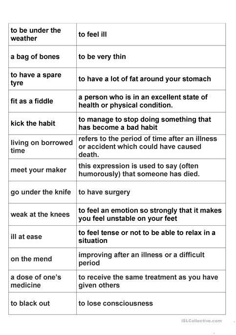 Health Idioms Worksheet