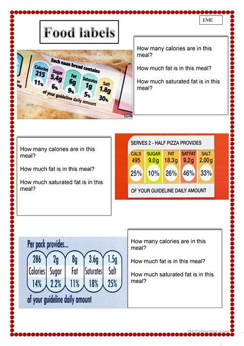 Healthy Eating Food Labels Worksheet