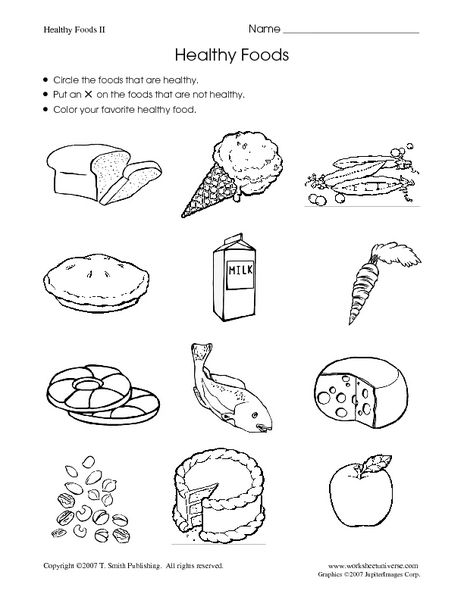 Healthy Food For Kindergarten Worksheets 1400076