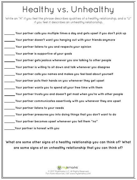 Healthy Relationships Worksheets Healthy Relationships Worksheets