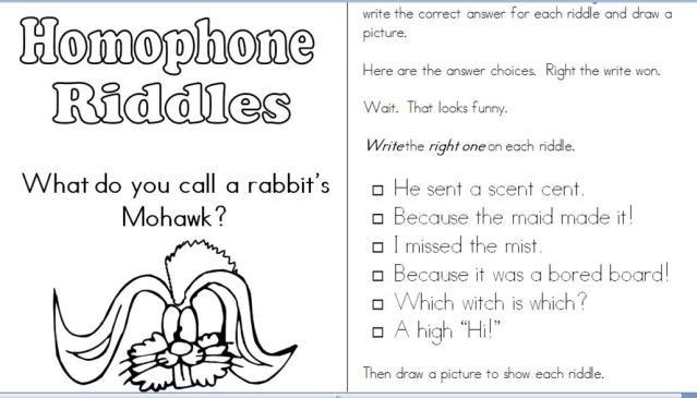 Homophone Riddles Joke Book For April Fool's Day!