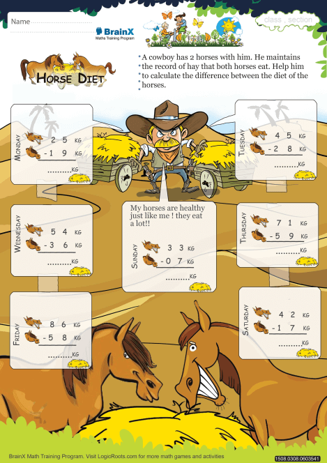 Horse Diet Math Worksheet For Grade 3
