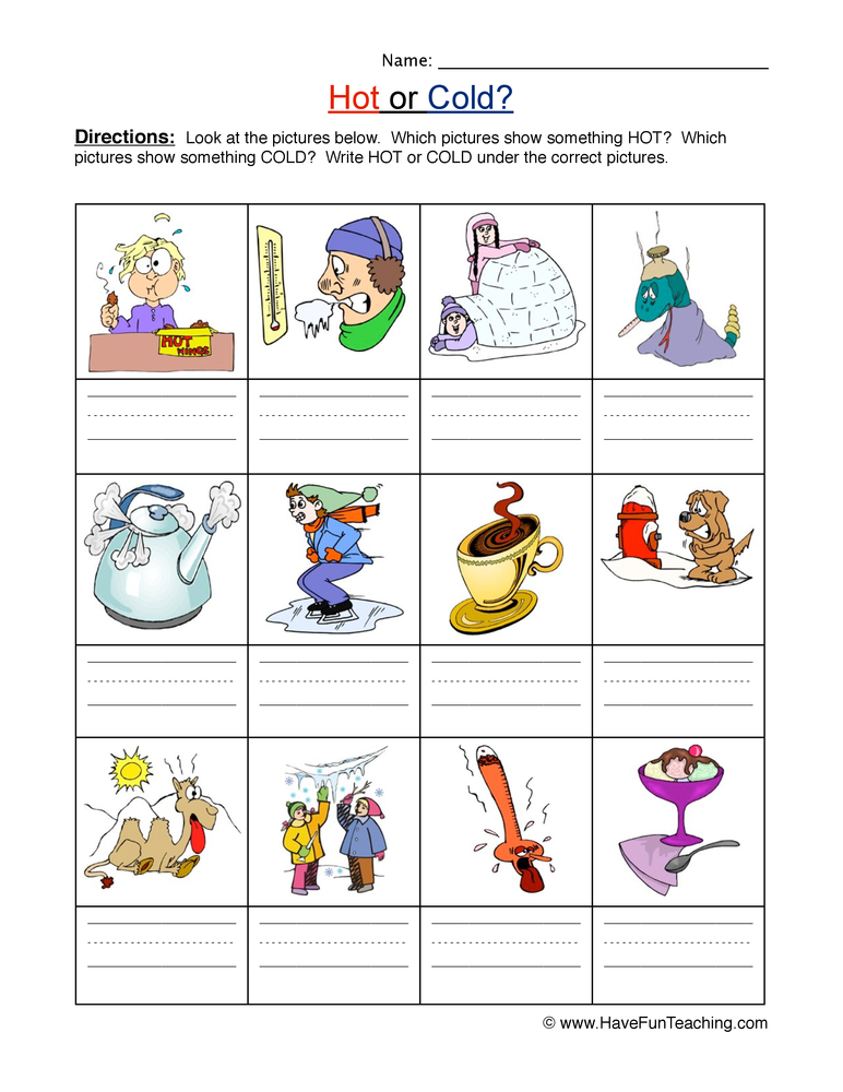 Hot And Cold Worksheets For Preschool  1047681
