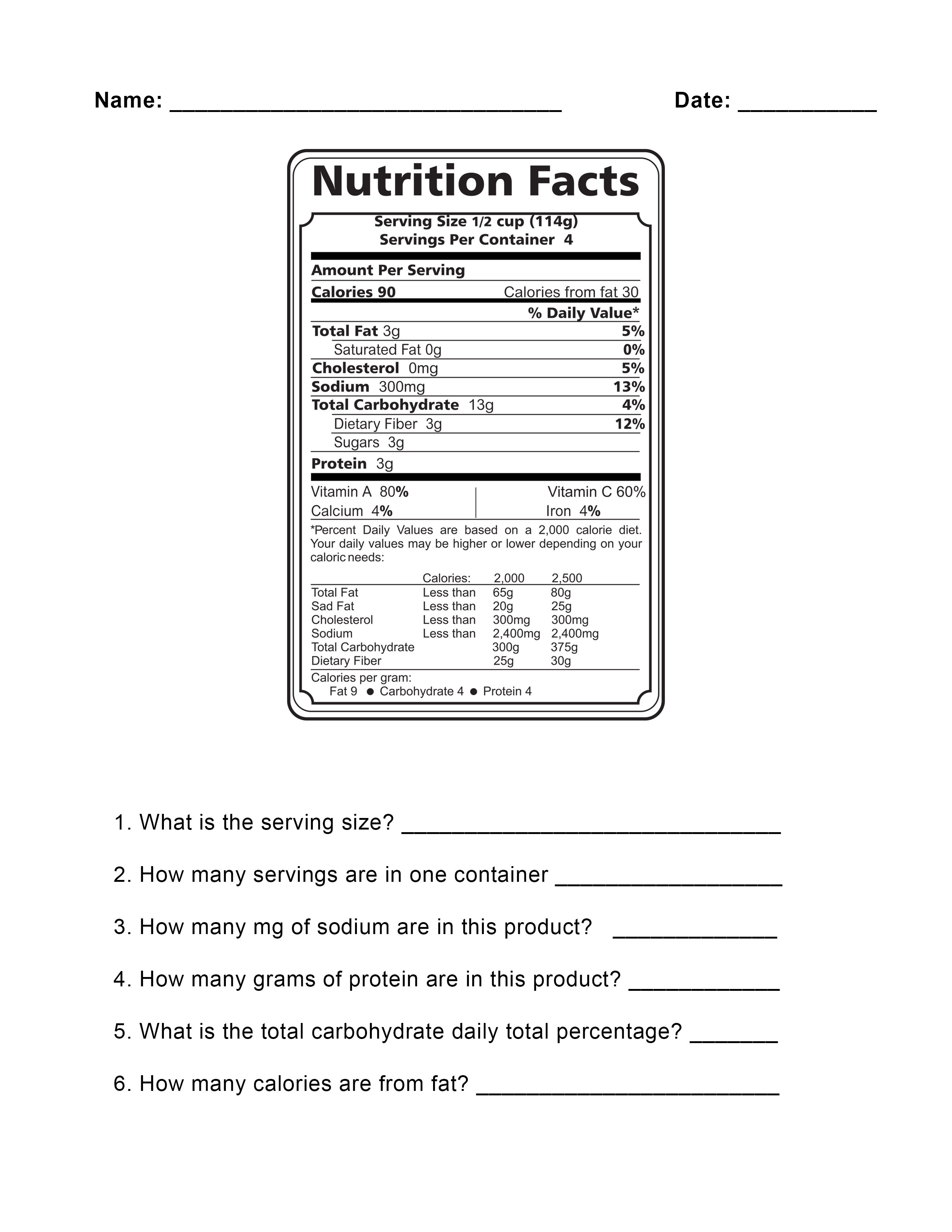 How To Read Food Labels Worksheet 1262308