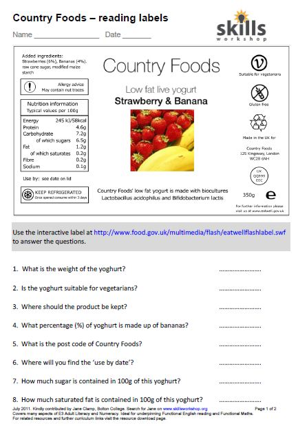 How To Read Food Labels Worksheet 1262310